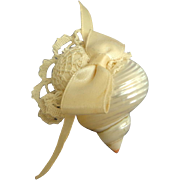Tiny Pincushion.  Crochet Lace & Shell & Shell.  Cream and Mother-of-Pearl. Adorable.