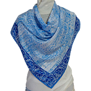 VERA Silk Scarf.  Blue and White Square.  Lovely.  As New Condition.