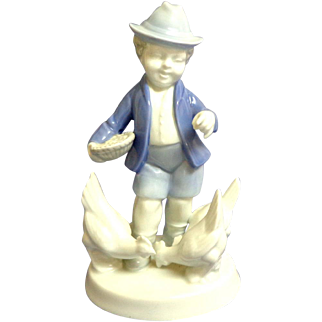 Gerold Porcelain. Bavaria West Germany.  Boy Feeding Chickens.  Perfect Condition.