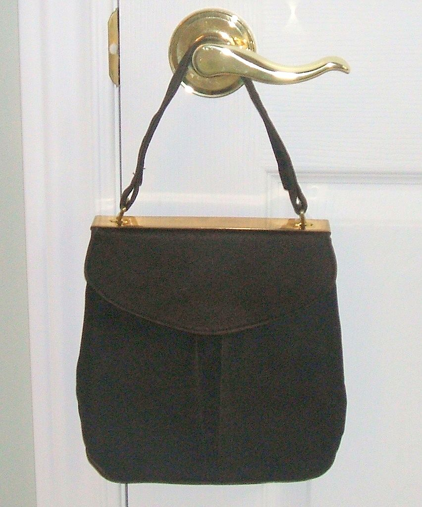 1940's Retro Brown Suede purse with attached change purse & mirror guard.  Wonderful condition!