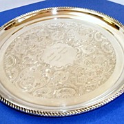 "Elegant, very large, 14""  in diameter Birks (Canada's Tiffany) silverplated tray.  Pristine condition!  Engraved with gadrooned edge on feet."