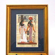 EGYPTIAN PAPYRUS  Original hand drawn rendering of ancient royal women.  Signed.  Beautifully matted & framed.  Mint condition. - Red Tag Sale Item