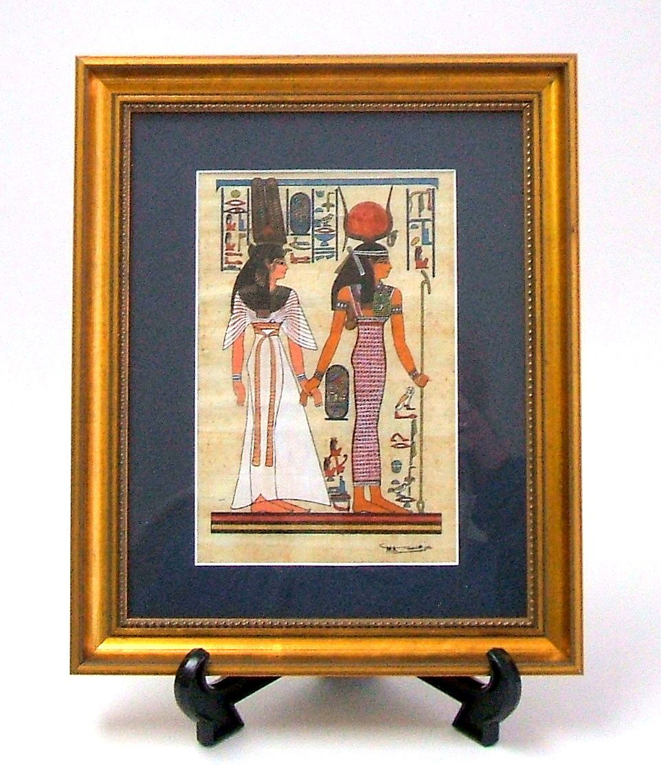 EGYPTIAN PAPYRUS  Original hand drawn rendering of ancient royal women.  Signed.  Beautifully matted & framed.  Mint condition.