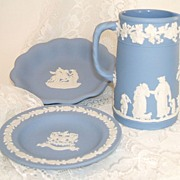 Wedgwood Jasperware.  3 pieces.  Jug, compotier, & landmark tray.  Mint, as new, condition.