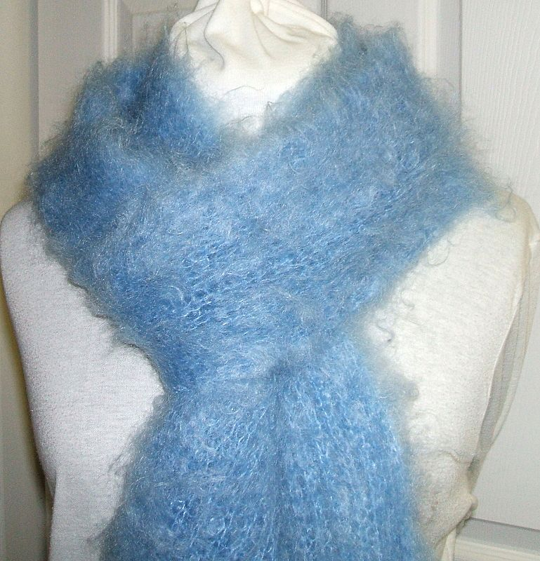 Knitting Patterns For Kid Mohair : Incredible Kid Mohair 88? Scarf. Soft Blue. Fantastically light & from bo...