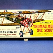 Guillow's American Thomas Morse S4C Scout Flying model kit.  1960's.  Unmade.  Mint condition.  All components present.
