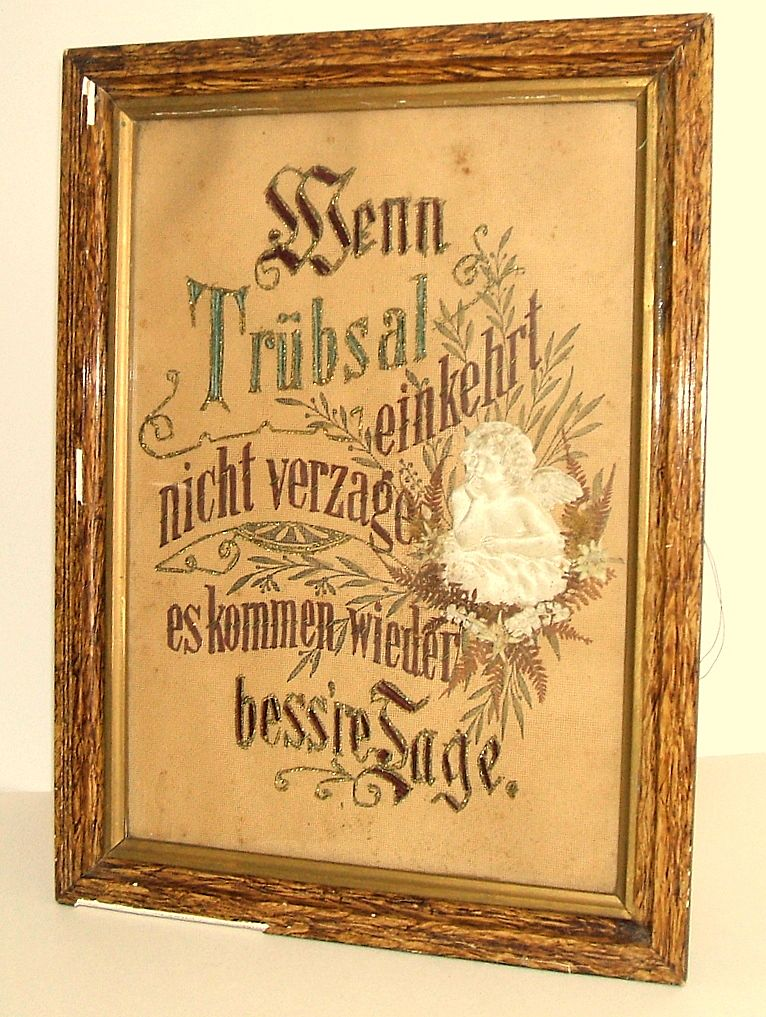 Berlin Work German Punched paper SAMPLER.  Gold thread, puffy silk cherub, flowers.  Very early.