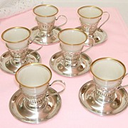 1906-1930  Sterling Silver Demitasse Cups with Lenox Porcelain Liners.  Set of 6.  Exquisite!