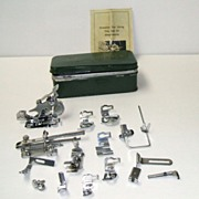 Vintage Sewing Attachments.  17 Pieces + Case + Instructions!  Mint condition.  Useful today.