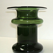 Finland Candleholder  /  Vase.  Art Glass.  Green.  Masterpiece mid-century modern.  Perfect condition.