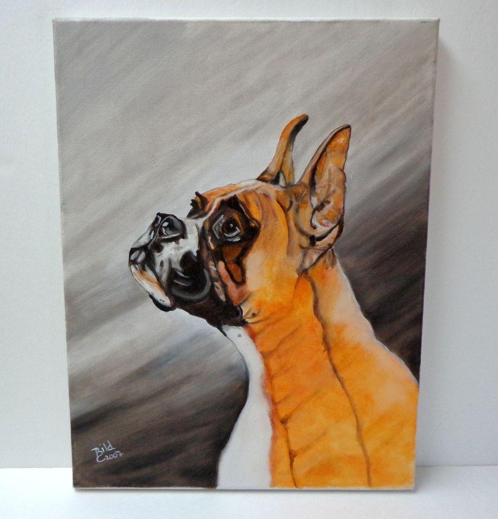 Original Oil on Canvas Portrait of Boxer Dog.  Wonderful!  Appealing! Mint condition.