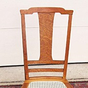 A T-Back Bird's Eye Maple Rocking Chair C. 1900-1915