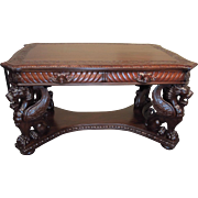 AJ Johnson Flame Mahogany Full Standing Winged Griffin Library Desk