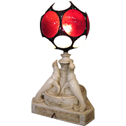 Art Deco Alabaster Sea Lion Lamp