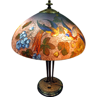Handel Reverse Painted Exotic Birds Lamp
