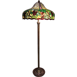 Wilkinson Leaded Glass and Brass Grapevine Floor Lamp