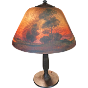 Handel Pastoral Reverse Painted Table Lamp