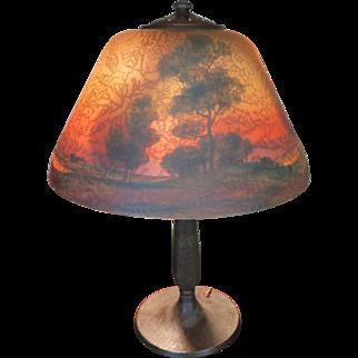 Handel Pastoral Reverse Painted Table Lamp