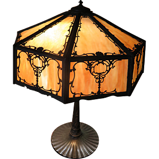 Wilkinson Filigree and Caramel Slag Panel Lamp