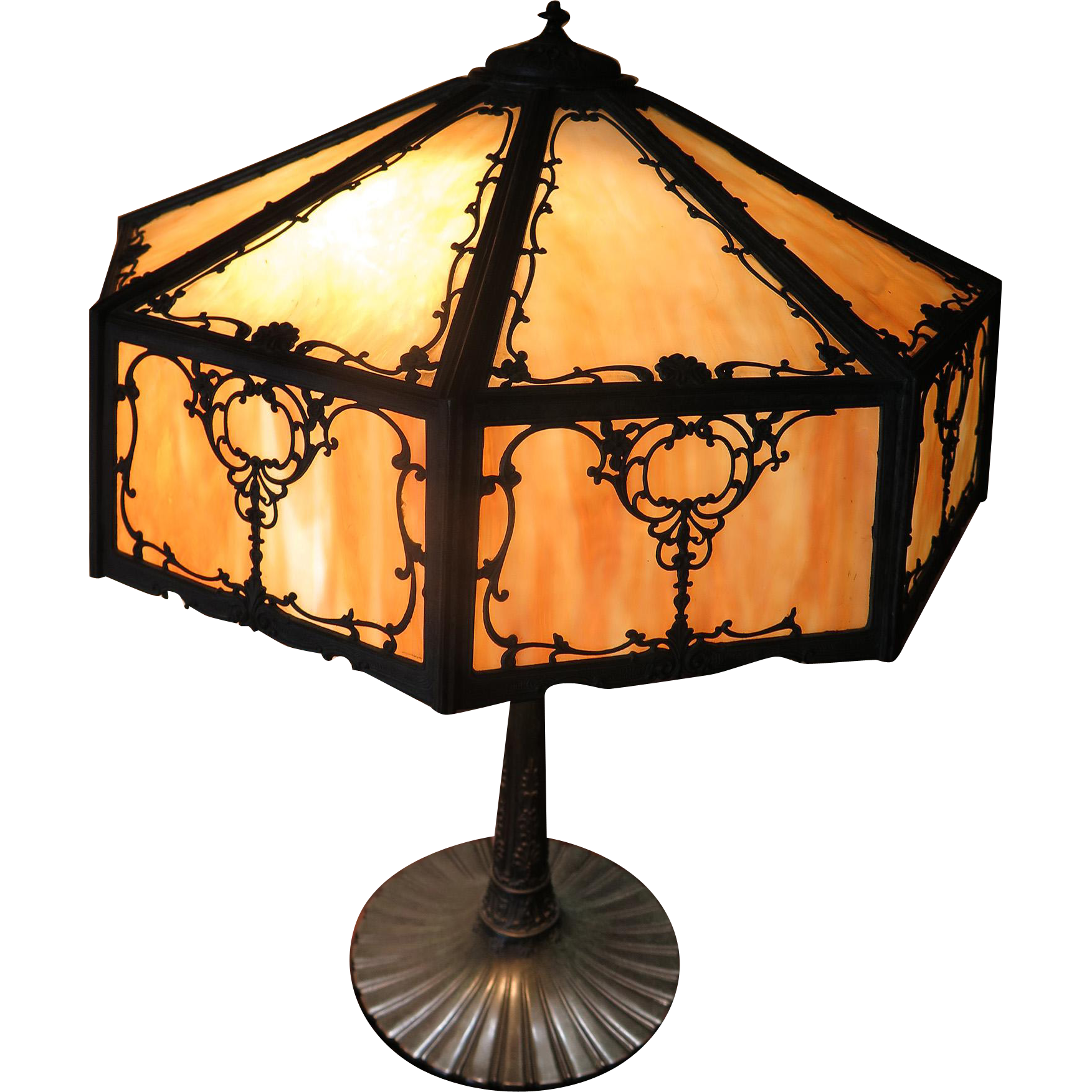 Wilkinson Filigree and Caramel Slag Panel Lamp