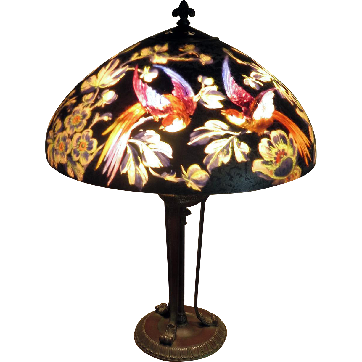 Signed Handel Reverse-Painted Birds of Paradise Table Lamp