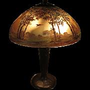 Signed Handel Bird in Flight Obverse-Painted Table Lamp