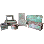 Eight Piece Pine Needle Desk Set by Tiffany Studios