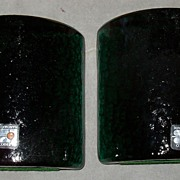 Ca 1980s Blenko Bookends Green Original Tags Heavy