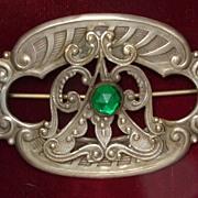 Art Nouveau Brooch Green Stone circa 1910