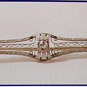 14kt White Gold Diamond Sapphire Brooch ; early 1900s