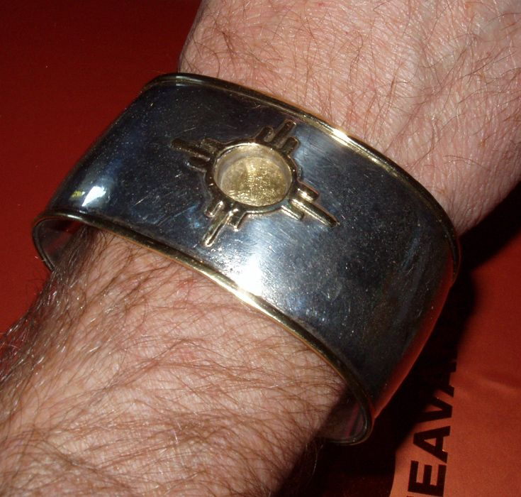 Native American 18k and Sterling Bracelet Signed Alvin Yellowhorse
