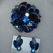 Montana Blue Brooch Earring Set Demi Parure Free Shipping