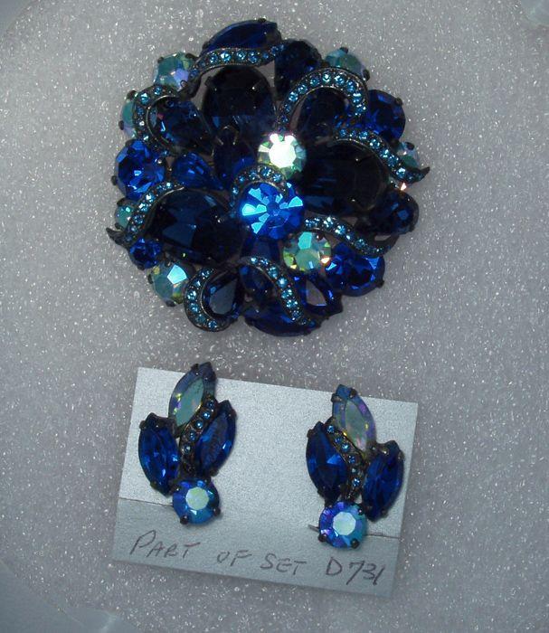 Montana Blue Brooch Earring Set Demi Parure Free Shipping