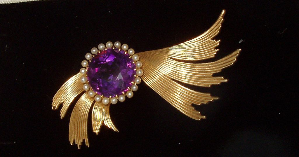 Ca 1920s Winged Amethyst Brooch Pin 14k Salt Water Pearls Free Shipping