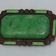 1910s Rectangle Brooch Goldtone