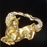 Beautiful Horse Brooch 18k Gold Custom Made Pin Maine Estate