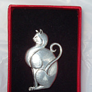 British Estate Brooch Pin Sterling Kitty Cat Feline Sterling