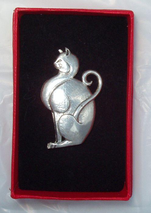 British Estate Brooch Pin Sterling Kitty Cat Feline Sterling