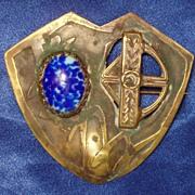 Art Nouveau Fleur De Lys Shield Sash Brooch Pin C Clasp