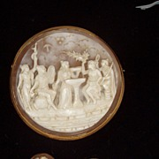 19th Century Mythological Motif Cameo Brooch Earring Set Ca 1890s 18k