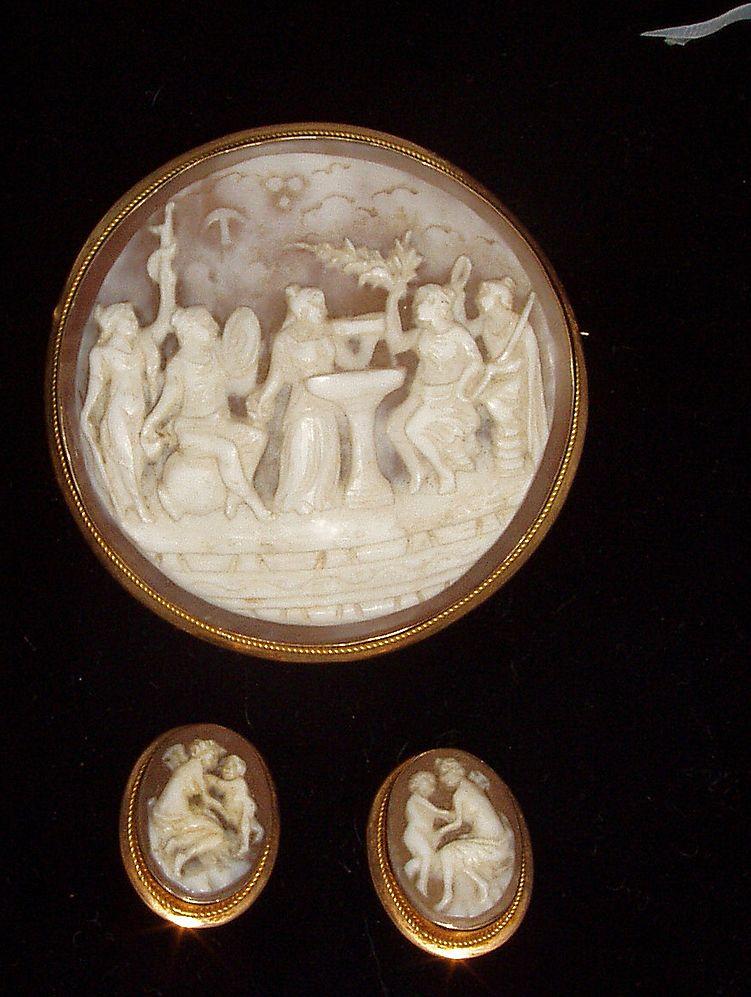 19th Century Mythological Motif Cameo Brooch Earring Set Ca 1890s 18k