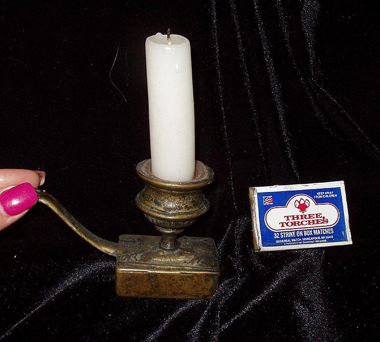 Ca 1920s Candlestick Candle Matchbox  Holder Brass