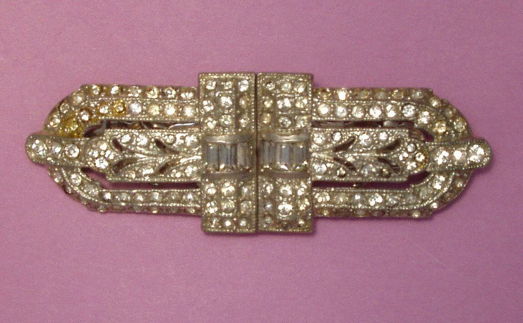 Vintage Deco Coro Duette Rhinestone Brooch Pin Clips