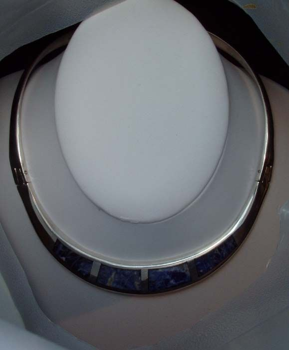 Vintage Art Deco Mexican Sterling Silver and Lapis necklace Free Shipping