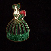 Enamel Brooch Czech Figural Lady Green Dress Bonnet Pin Ca 1900