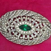 Art Deco Art Nouveau Period Oval Rhinestone Brooch Green Center