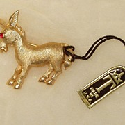 Trifari Original Tag Donkey Political Mascot Trinket 1950s