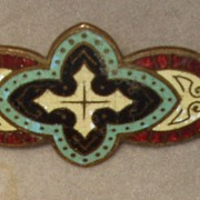 Bar Brooch Enamel Blue Red Spiritual Religious Circa 1910