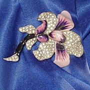 Period Fur Clip Orchid Pot Metal Rhinestones Enamel Free Ship