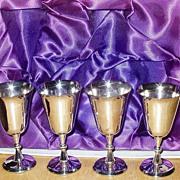 Set 4 Goblets Silver Tone Silverplate Original Box